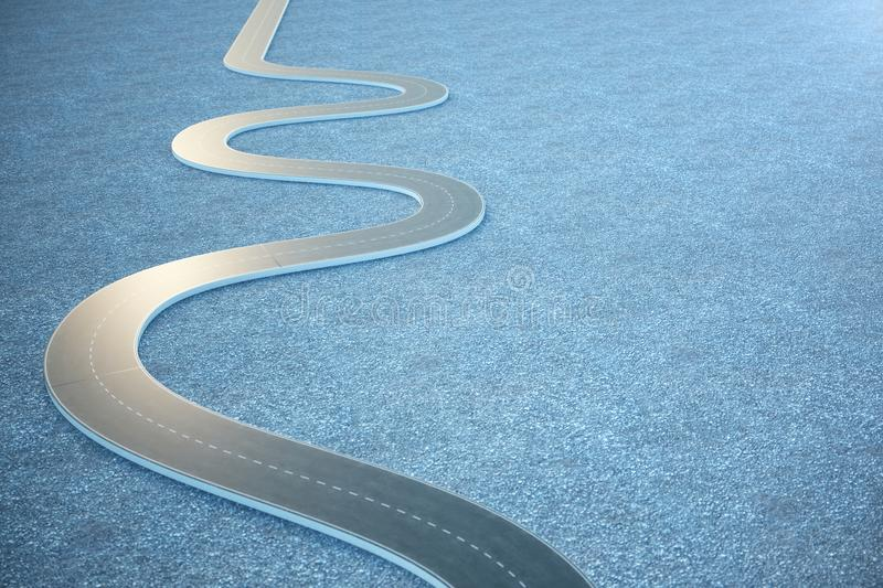 Road way. Travel, transportation concept. Asphalt road divided by a strip. 3D illustration royalty free illustration