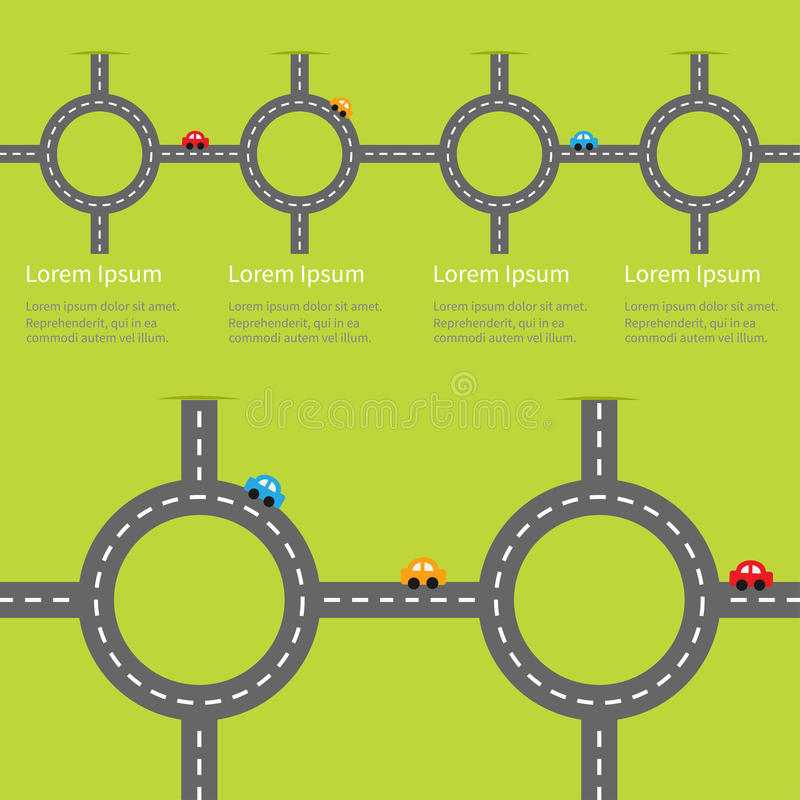 Road white marking and cartoon cars. Circle round crossroad set. Infographic timeline template. Design element. Green grass backg. Round. Flat design. Vector stock illustration