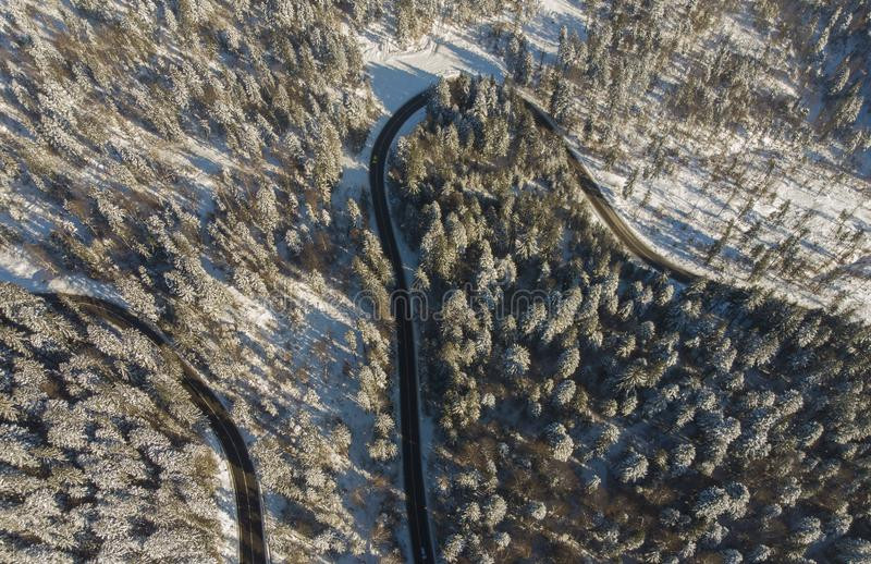 Road in winter mountain. Landscape royalty free stock image