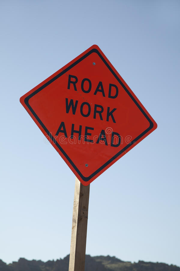 `Road Work Ahead` Road Sign stock photography