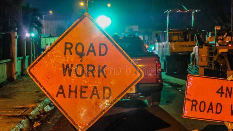 Road Work Ahead royalty free stock photography