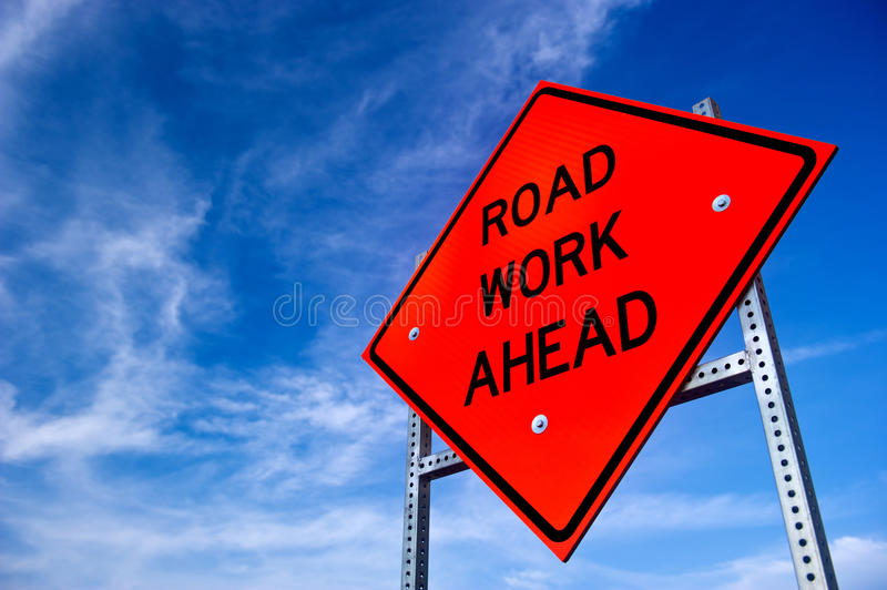 Road Work Ahead Sign stock photography