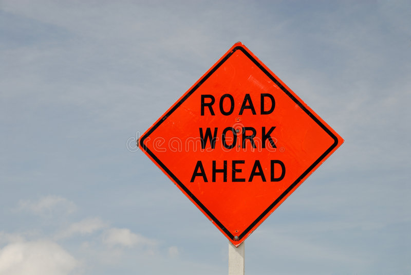 Road work ahead sign stock photos