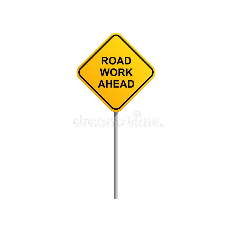 Road work ahead road sign with blue sky and cloud background stock illustration