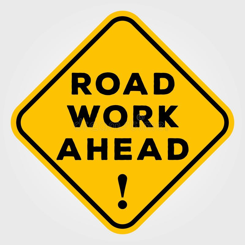 Road Work Ahead Sign isolated on white background. Vector illustration royalty free illustration