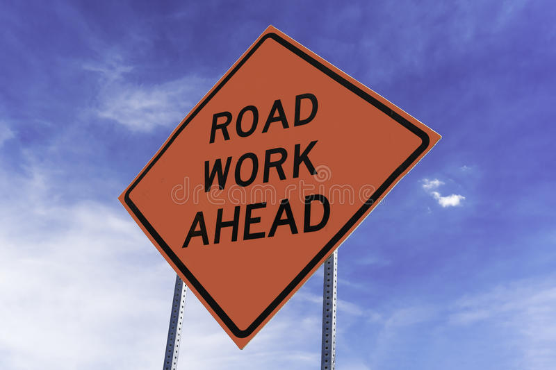 Road Work Ahead Sign stock photo