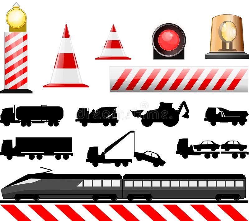 Road Work Symbols. Essential illustration that describes the work in progress indications , train and rail crossing royalty free illustration