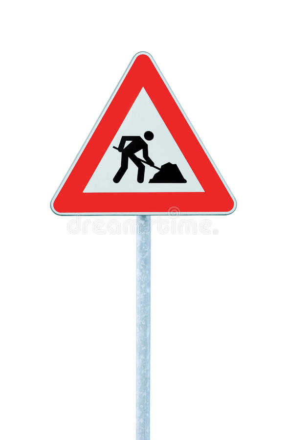 Free Road Works Ahead Warning Road Sign Pole Isolated Royalty Free Stock Photo - 15556285