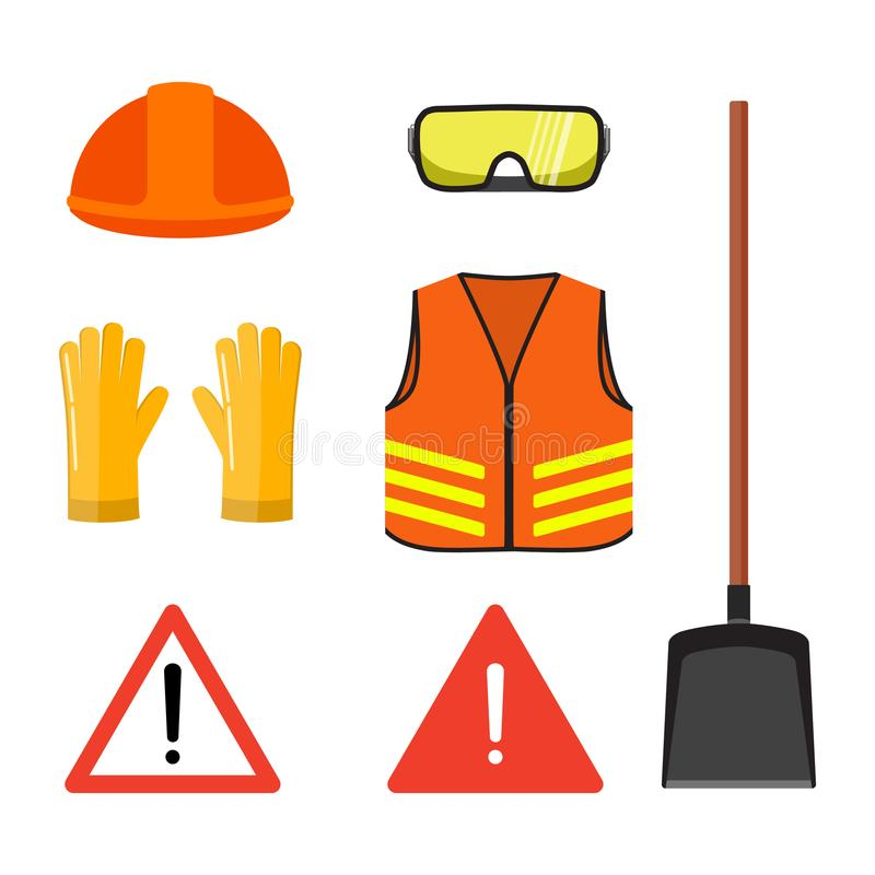 Road works conceptual set, isolated on white flat vector illustration. Safety head helmet, glasses, gloves, neon orange stock illustration