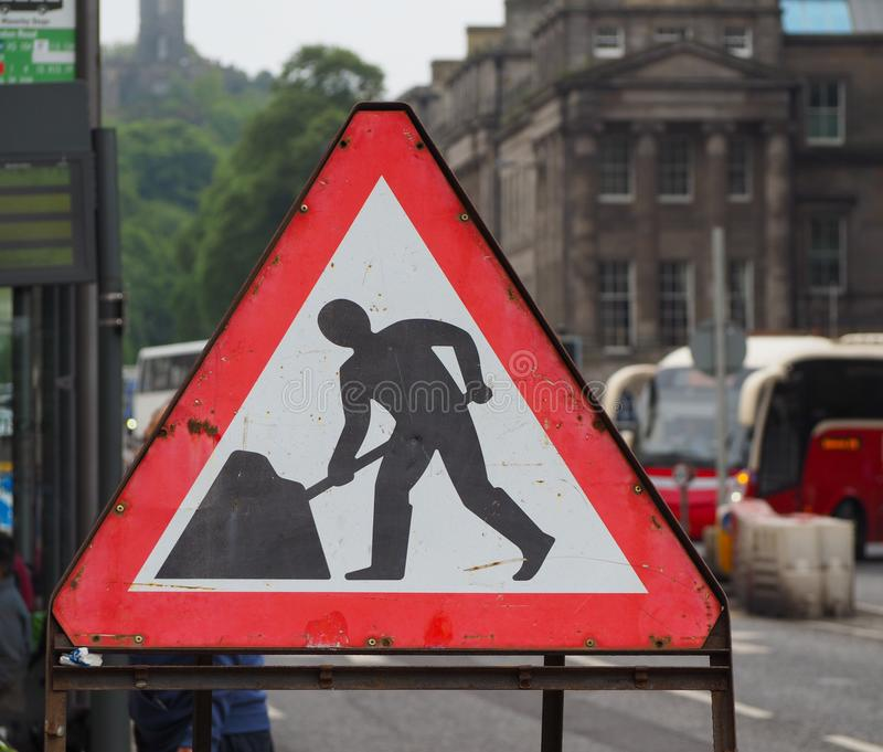 Road works in progress sign. Warning signs, road works in progress traffic sign stock image