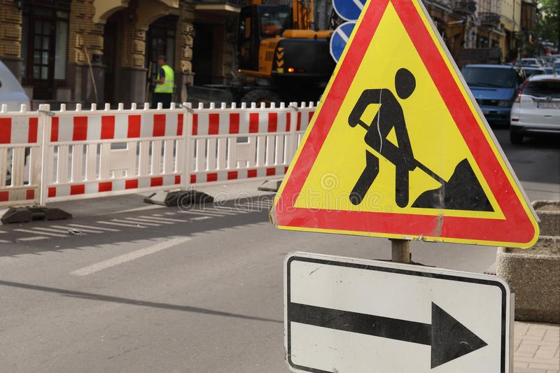 Road works sign for construction works in progress stock image