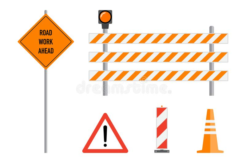 Road works signs set, flat vector illustration. Work road ahead, orange warning sign, striped warning posts, barricade, traffic c stock illustration