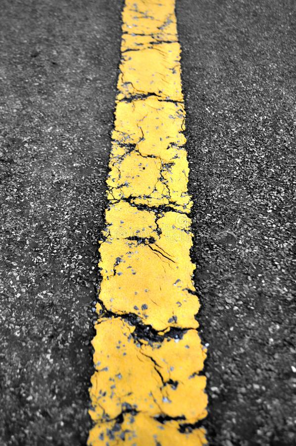 Road with a yellow line. French road with a yellow central line. Seen from above stock photography