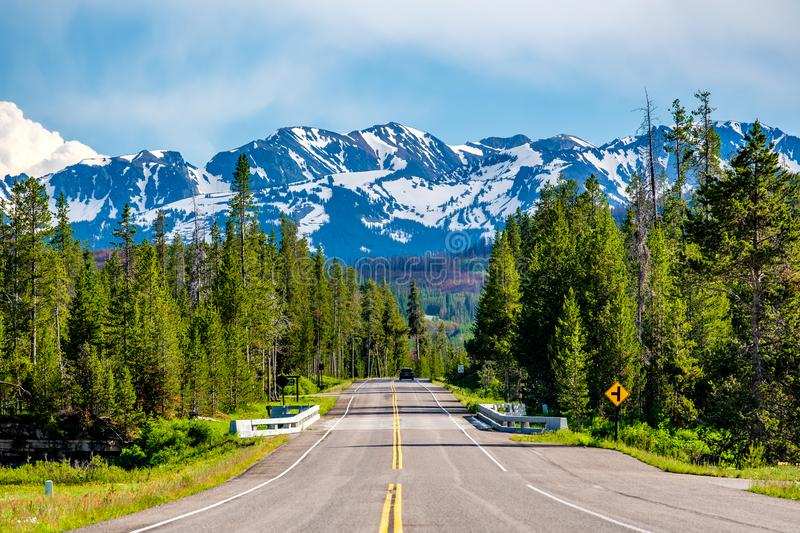 Road from Yellowstone to Grand Teton stock photography