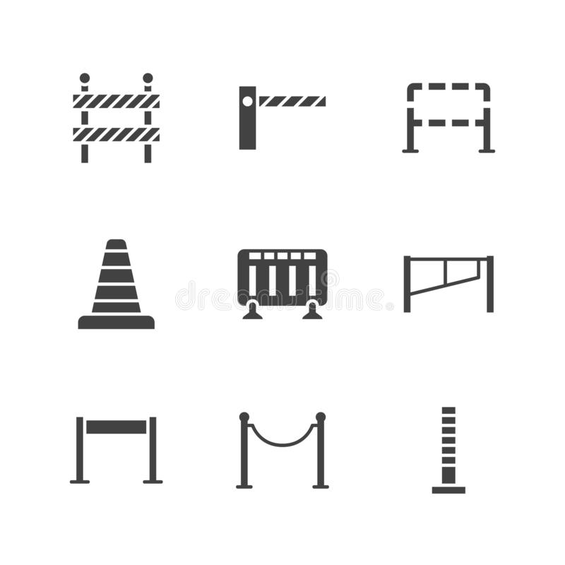 Free Roadblock Flat Glyph Icons Set. Barrier, Crowd Control Barricades, Rope Stanchion Vector Illustrations. Black Signs For Royalty Free Stock Photography - 160431477