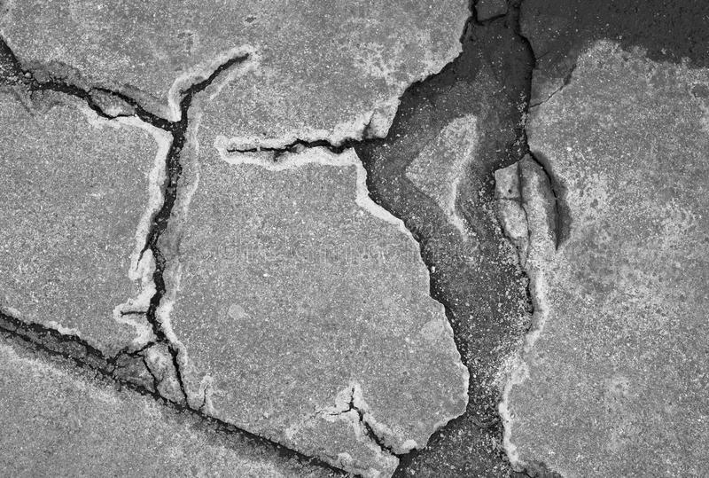 Roadk avec des fissures image stock