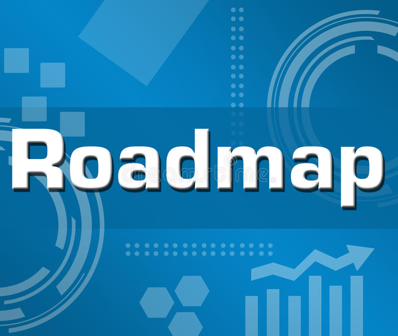 Roadmap. Concept image with text over conceptual background stock illustration
