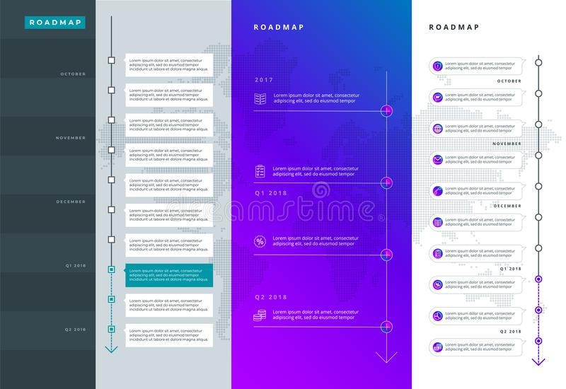Roadmap set. Lines, arrows, timeline. For registration of sites, a road map for start-ups, polygraphy, infographics, posters. stock illustration