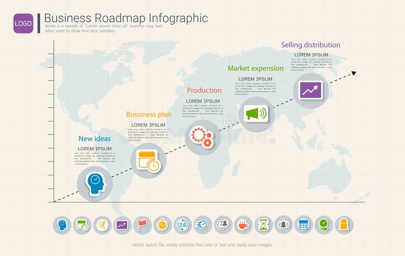 Roadmap timeline infographic design template, Key success and presentation of project ambitions. Roadmap timeline infographic design template, Key success and stock illustration