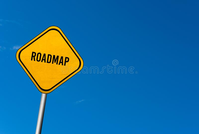 Roadmap - yellow sign with blue sky.  royalty free stock photography