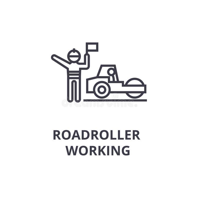 Roadroller die dun lijnpictogram, teken, symbool, illustation, lineair concept, vector werken royalty-vrije illustratie