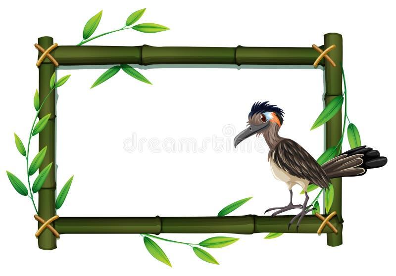 Roadrunner на бамбуковой рамке бесплатная иллюстрация