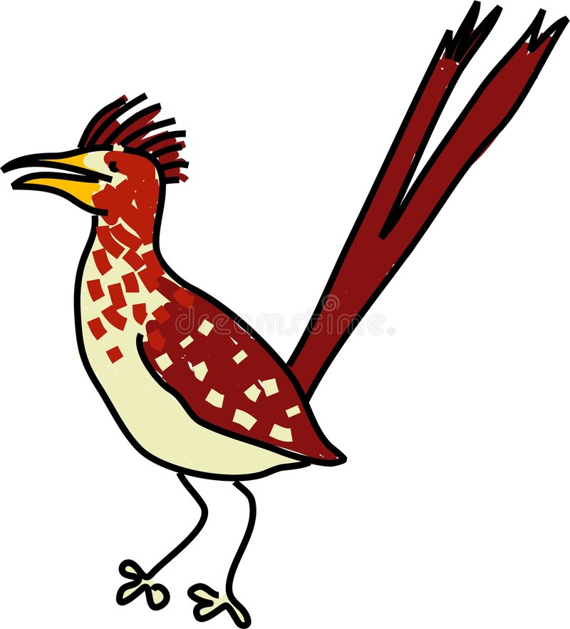 Roadrunner. Isolated on white drawn in toddler art style royalty free illustration