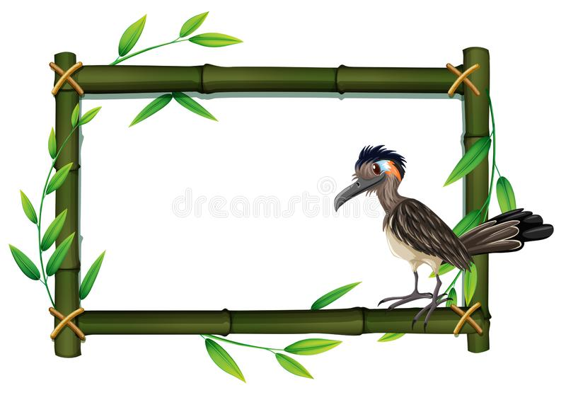 A roadrunner on bamboo frame. Illustration royalty free illustration