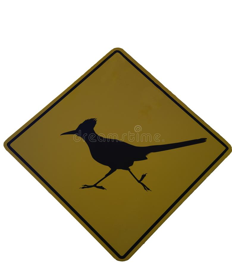 Roadrunner crossing street sign. Cautionary street sign indicating roadrunner crossing royalty free illustration
