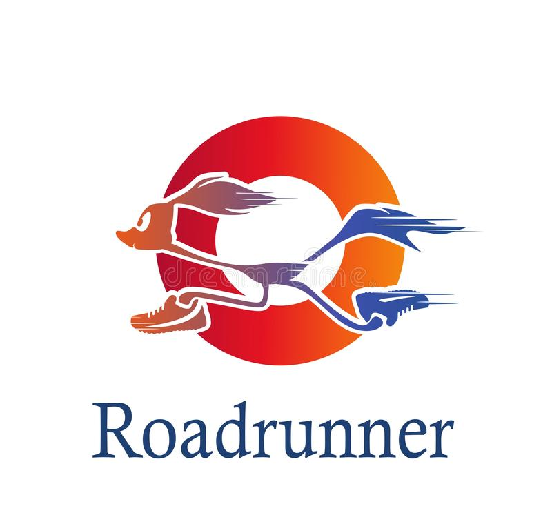 Roadrunner logo in red circle. Bird logo. Vector silhouette of a running road runner in sneakers.Logo for your company. Cartoon running Roadrunner stock illustration