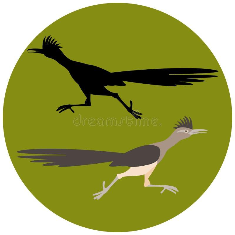Roadrunnervogel die het vector zwarte silhouet van de illustratie vlakke stijl in werking stellen vector illustratie