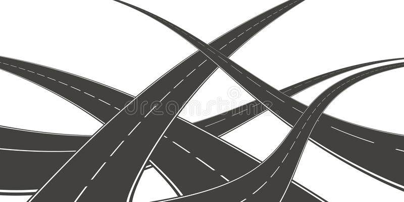 Roads. An illustration of a curving empty roads vector illustration