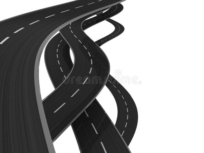 Roads. 3d illustration of asphalt roads background royalty free illustration