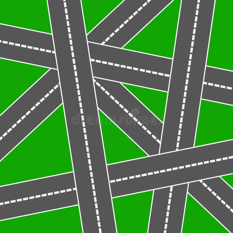 Roads. Network of crossing roads on a green background stock illustration