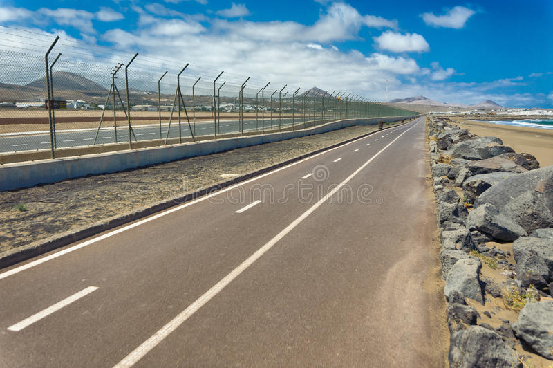 Roads. To airport on the island of Lanzarote stock photography