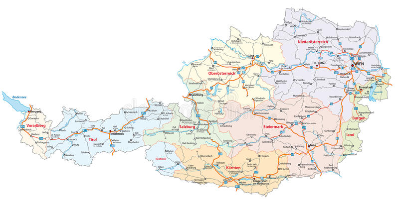 Roads And Administrative Map Austria Stock Illustration