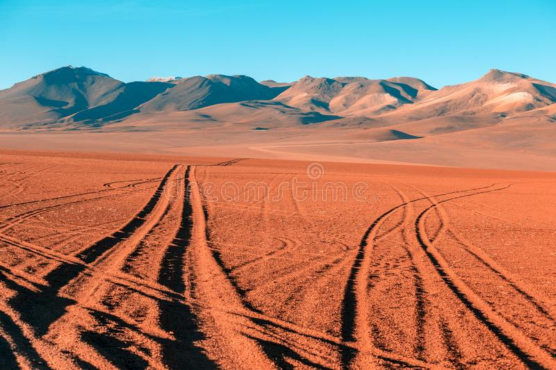 Roads of Altiplano desert royalty free stock photography