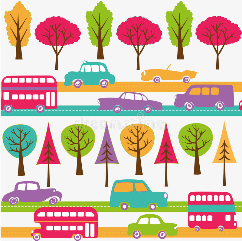 Roads with colorful cars, buses and trees vector illustration