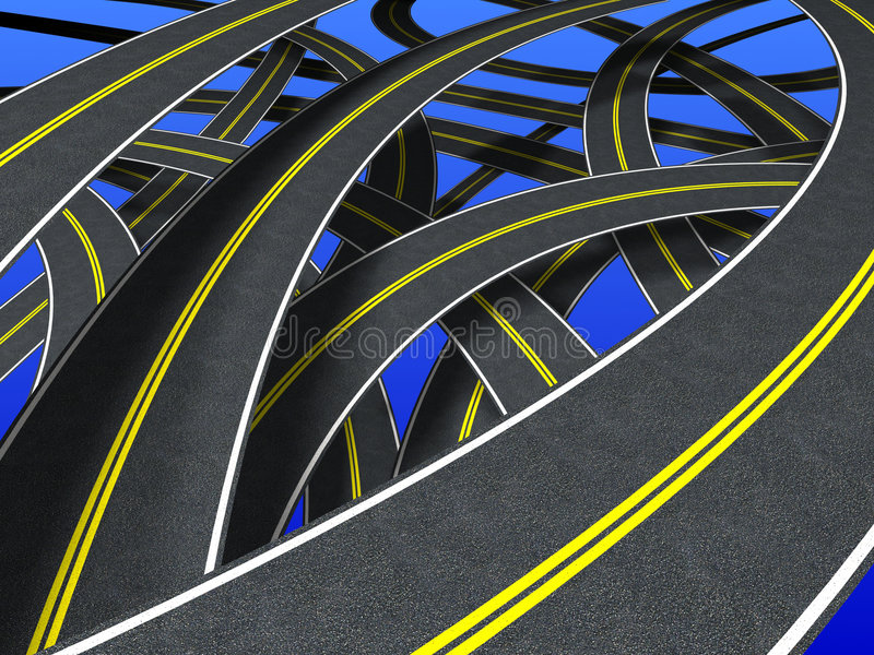 Roads (double strip). Many roads in confusion way vector illustration
