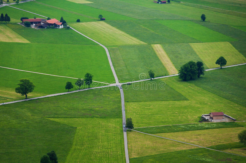 Roads and fields from top stock photo
