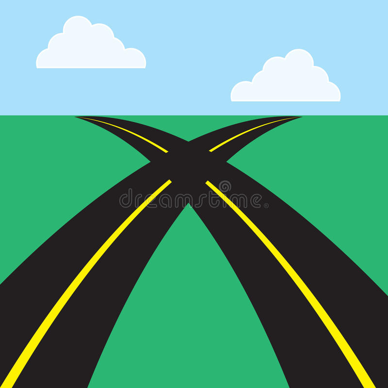 Roads Intersecting. Two roads intersecting in the middle vector illustration