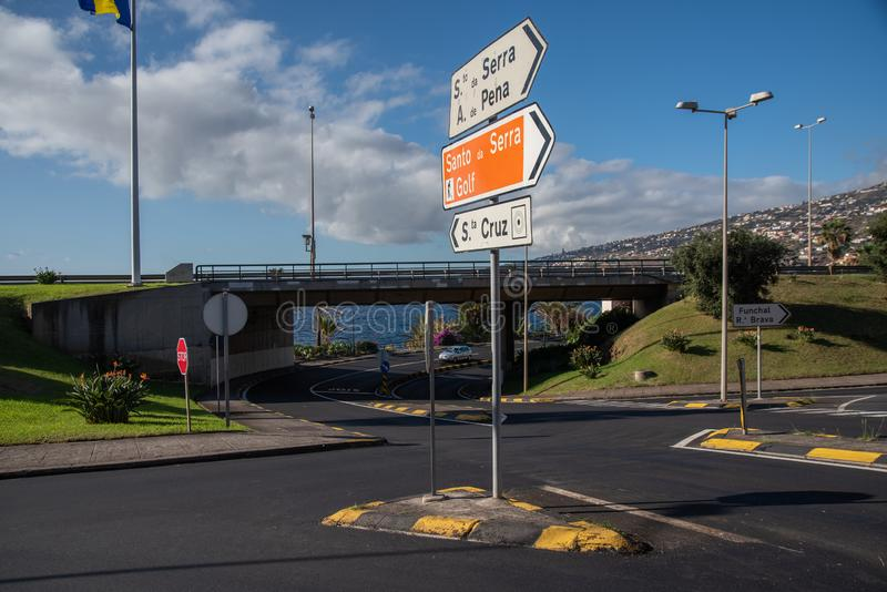 Roads in madeira island stock photography