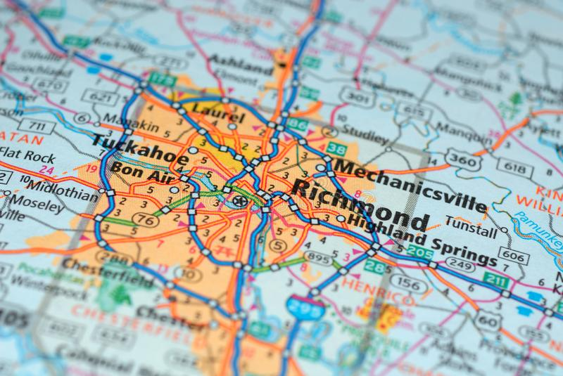 Roads on the map around Richmond city, USA, march 2018. Richmond, the capital of Virginia, is one of the oldest American cities. Patrick Henry, one of the stock photos