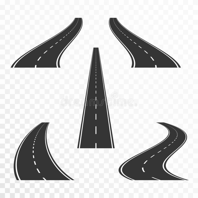 Roads with markings. Straight and curved asphalt roads in perspective royalty free illustration