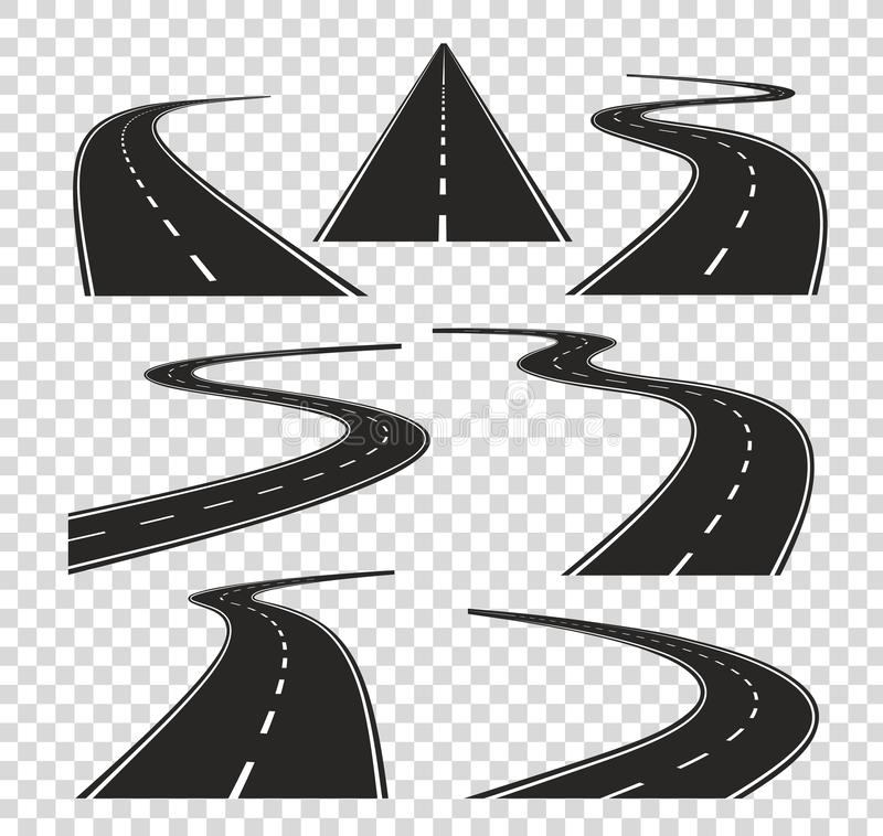 Roads in perspective. Bended pathway road curved city street to horizon. Journey asphalt highway isolated vector royalty free illustration