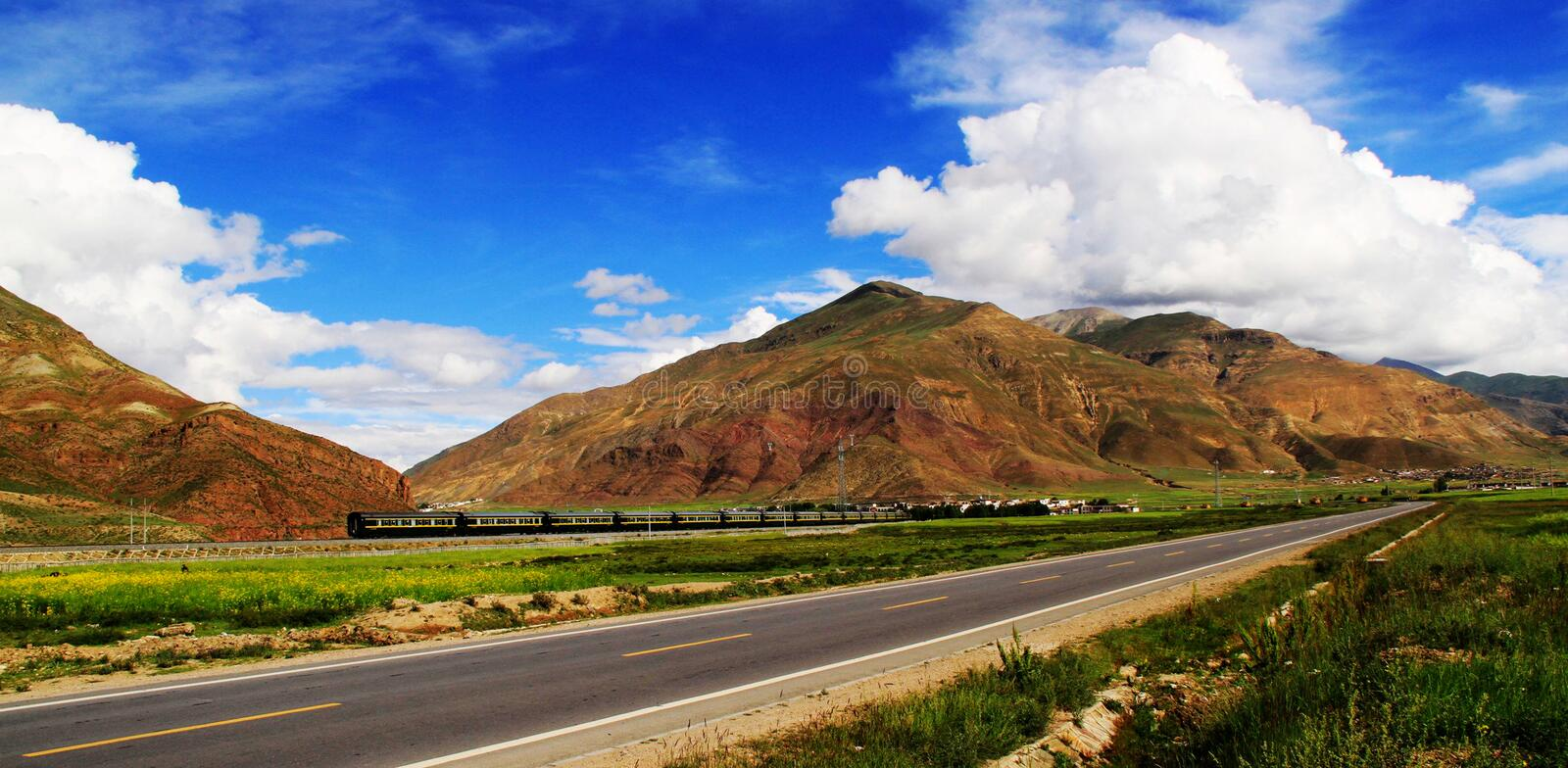 Roads and railways. Are also built in the mountains and the transportation is very convenient. zhaofuxin 2012 stock images