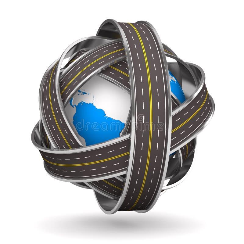 Roads round globe on white background