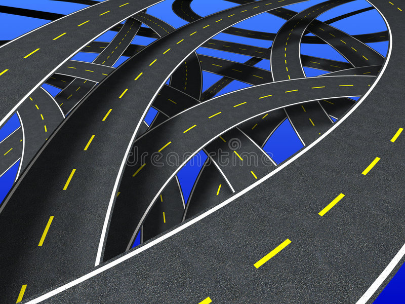 Roads (segmented strip). Many roads in confusion way royalty free illustration