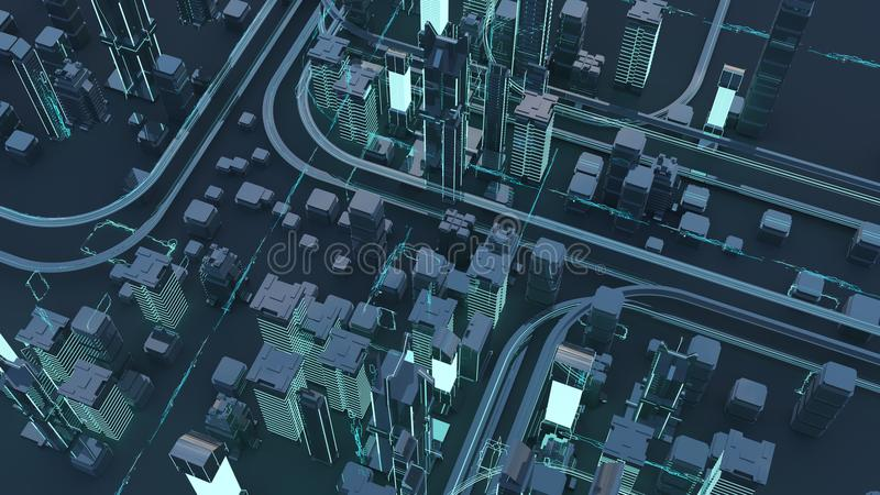 Roads and skyscrapers from a bird`s eye view. Road junctions. Futuristic skyscrapers in the flow of information. 3d render. 3d illustration. The flow of stock illustration