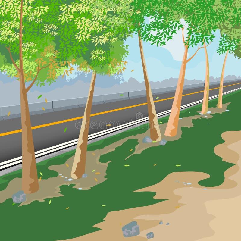 Roadside. Beautiful views roadside,nature landscape background vector illustration